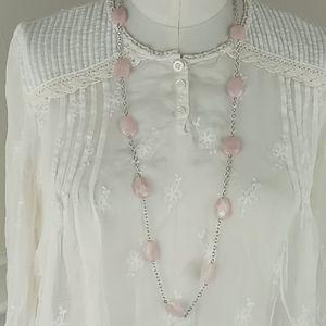 Ralph Lauren Light Pink Silver Chain Necklace